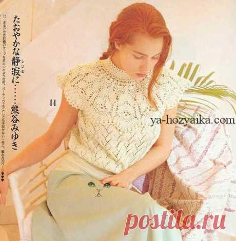 Блуза на круглой кокетке по японским схемам.Японские схемывязания крючком кофточек