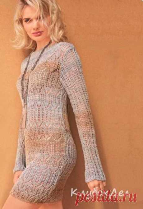 Удлиненный пуловер с ажурными узорами Удлиненный пуловер или мини-платье? Эта модель с завораживающими ажурными узорами будет к лицу любой женщине не в последнюю очередь благодаря сочетанию сдержанных серо-бежевых тонов в пряже секционного крашения.Размеры: 38/40 (42/44) 46/48Вам потребуется: пряжа (58% вискозы, 42% хлопка: 760 м/200