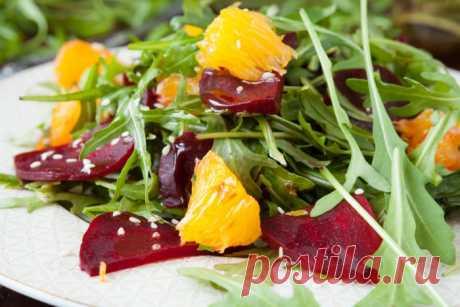 Салат из свеклы с апельсинами и рукколой — Sloosh – кулинарные рецепты