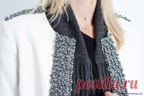 Как украсить жемчугом скучноватый пуловер своими руками