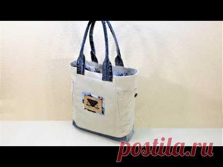 Как сшить джинсовую сумку #18. Сумка для покупок. DIY Denim bag. DIY Shopping bag
