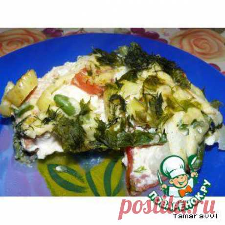 Кижуч с овощами в омлете - кулинарный рецепт