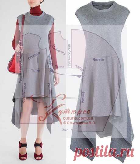 Выкройка платья трапеция с воланом для полных и средних размеров, и как сшить начинающим | Шьем с Верой Ольховской | Яндекс Дзен