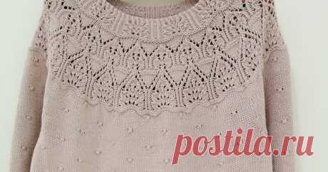 Пуловер на круглой кокетке Блог о вязании спицами азиатских моделей.