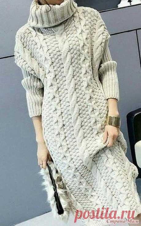 Длинное, теплое - теплое платье спицами.