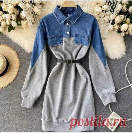 Полуджинсовое платье. Можно соединить трикотажное или шерстяное платье с джинсовым, курткой или рубашкой.