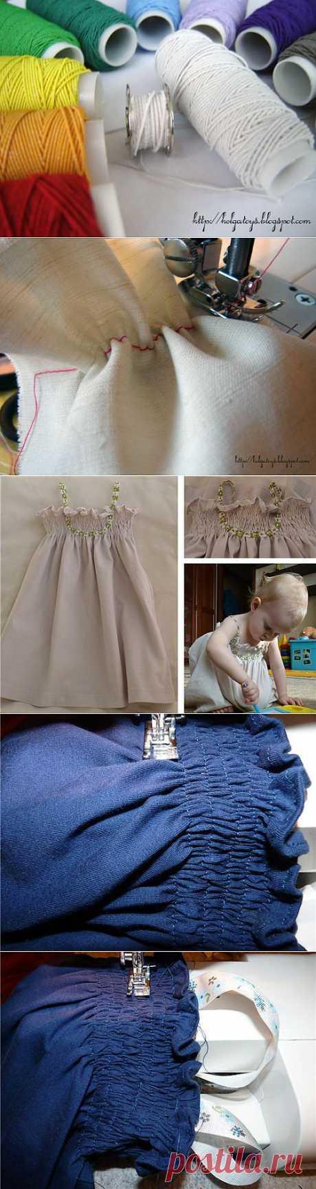 Шитье. Использование нитки-резинки для создания складок на ткани + детский сарафан на резинке. Мастер-классы.