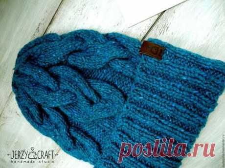 Купить Шапка Малахит женская вязаная спицами зимняя с отворотом - шапка вязаная, шапка зимняя