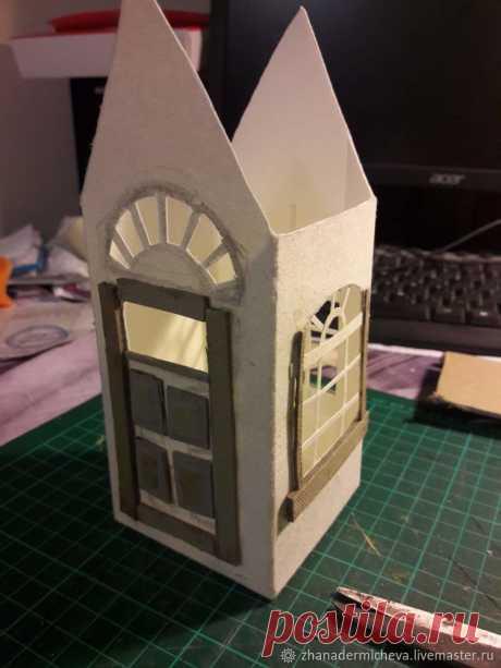 Мастерим рождественский домик из бумажного пакета от молока – Ярмарка Мастеров