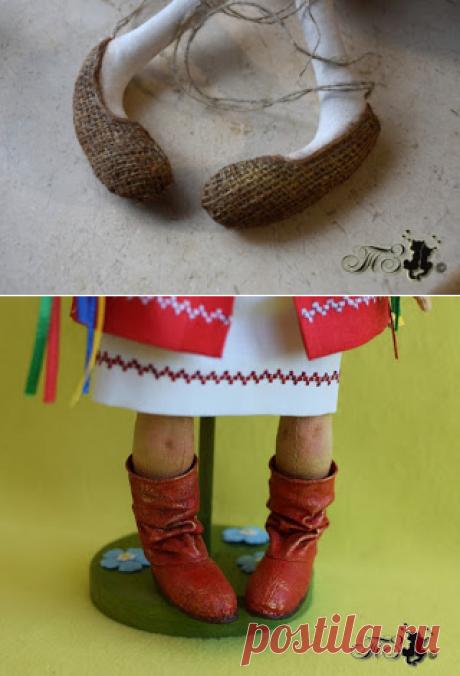 Сказки у камина...: Обувь для примитивов. 2 МК в 1, или как это делаю я.