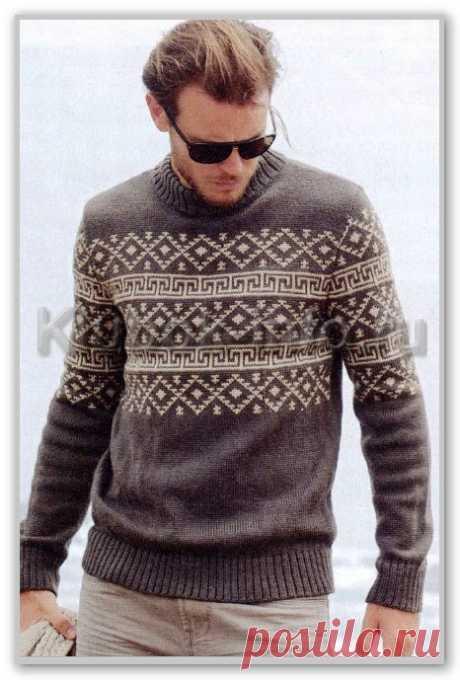 Вязание спицами. Фотогалерея мужских моделей. Джемпер с жаккардовым северным мотивом. Размер 46/48/50/52-54/56