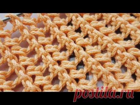 "Вяжем узор ""Сеточку-колосок"" 🌾 knitting pattern."