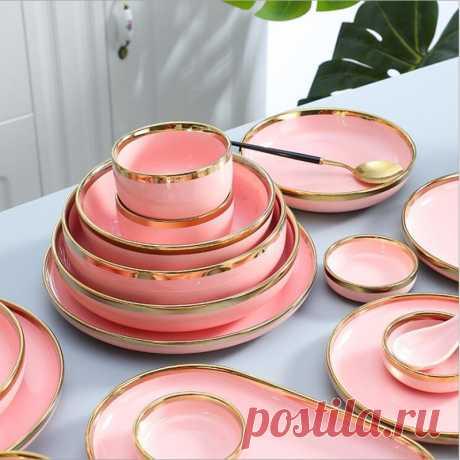 362.46руб. 30% СКИДКА Позолоченная розовая тарелка Стейк фуд тарелка посуда в скандинавском стиле Ins блюдо для ужина высококачественный фарфоровый набор посуды Блюдца и тарелки      АлиЭкспресс Покупай умнее, живи веселее! Aliexpress.com