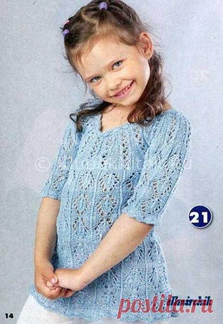 Ажурная туника с круглой кокеткой   Вязание для девочек   Вязание спицами и крючком. Схемы вязания.