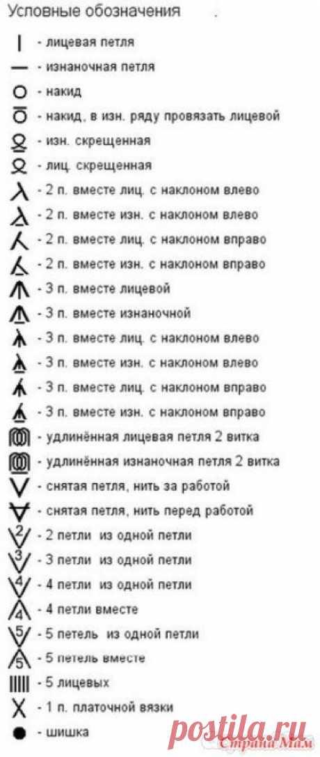 Как читать схемы  вязания спицами — простая и понятная  шпаргалка. Начинающие мастерицы, взяв в первый раз схему, увидят много непонятных для себя условных обозначений и символов.