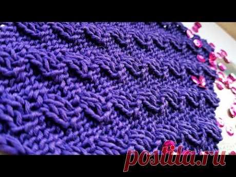 Очень эффектный 3D диагональный узор спицами 👏📌 knitting pattern.