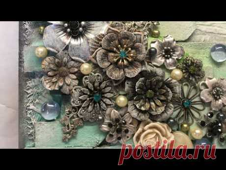 Mixed Media Canvas Using DIY Gesso, Junk Jewelry, and Acrylics