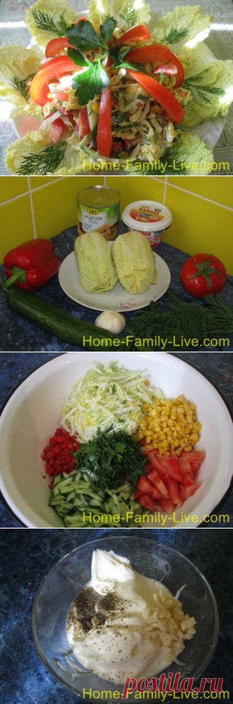 Салат из пекинской капусты с кукурузой/Сайт с пошаговыми рецептами с фото для тех кто любит готовить