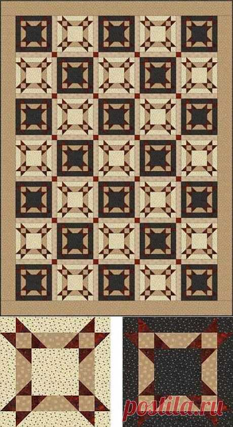 Лоскутное одеяло *Звездная диагональ*. Схема..