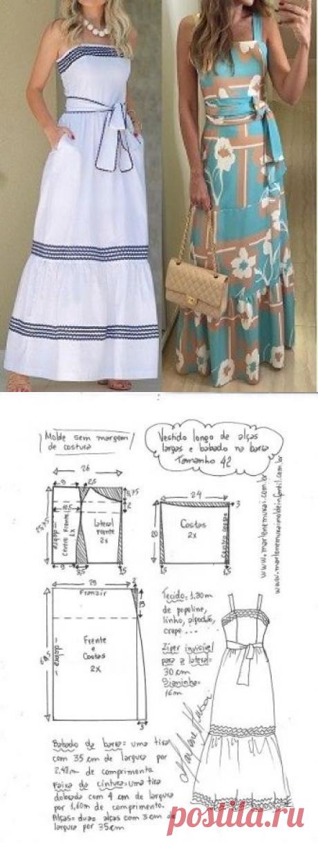 Vestido longo com alças largas e babado na barra   DIY - molde, corte e costura - Marlene Mukai