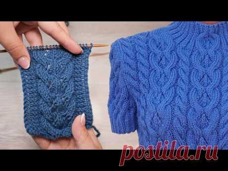 Ажурная коса спицами 🧩 Knit lace cables