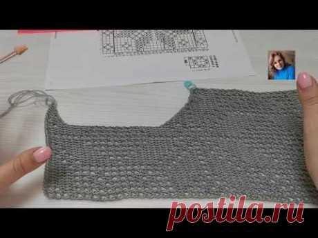 Джемперок с поперечной кокеткой филейной сеткой. Часть 2. #тунисскоевязание