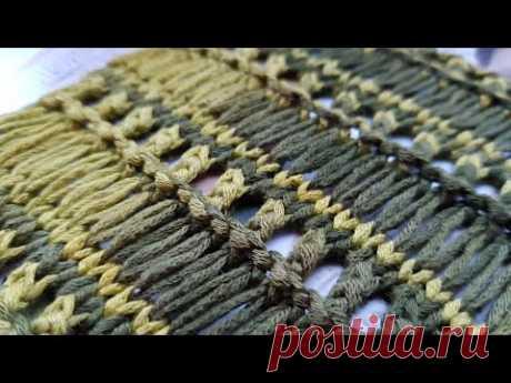 Эффектная комбинация вытянутых петель с фелейной сеткой в новом узоре спицами 🤩 knitting pattern.