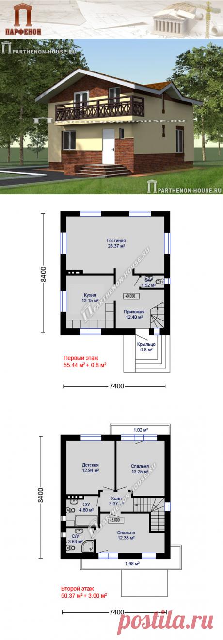 Проект небольшого двухэтажного дома из блоков газобетона ЯА-111  Камин: да. Балконы: да. Всего комнат: 3 + 1. Санузлы: 3. Кол-во жильцов: 4.   Площадь общая: 111,00 кв.м. Площадь застройки: 77,60 кв.м. Площадь жилая: 65,10 кв.м. Габаритные размеры дома: 7,400 х 8,400 м. (в осях) Минимальные размеры участка: 14,00 x 15,00 м.  Технология и конструкция: строительство дома из газобетона