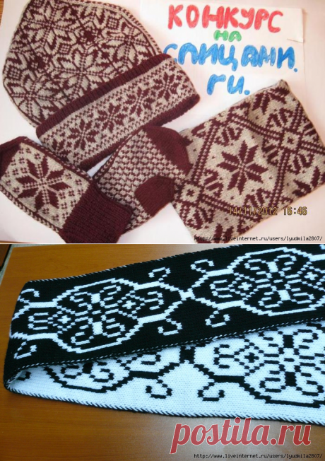 Жаккардовый шарф. Жаккардовый комплект (шапочка, снуд и варежки)