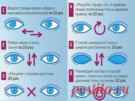 Ради хорошего зрения не пожалейте 10 минут в день  Зарядка для глаз творит чудеса, если делать ее регулярно. Из предложенных 10 упражнений можно выбрать пять, но всему комплексу нужно посвящать примерно 10 минут каждый день.  1. Поморгайте часто в течение двух минут — это нормализует внутриглазное кровообращение.  2. Скосите глаза вправо, а затем переведите взгляд по прямой линии. Проделайте то же самое в противоположном направлении.  3. Ощутите темноту. Считается, что погружение в темноту с