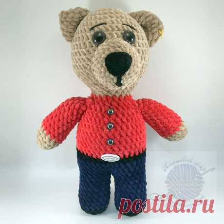 Игрушка медвежонок плюшевый в одежде в рубашке, штанишках. 30Плюшевый мир Мастерская игрушек Анны Ганоцкой