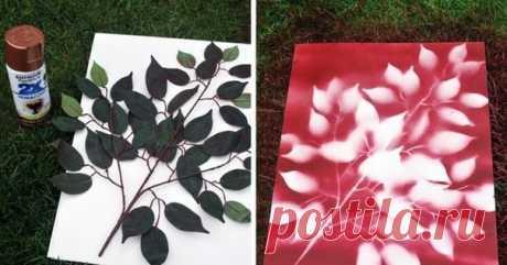 Простая ветка может помочь создать очень красивую картину с помощью баллончика краски
