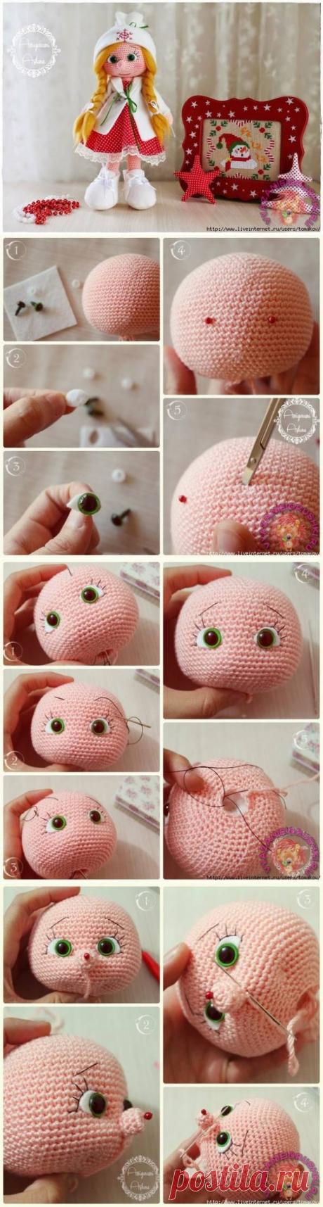 Оформление лица вязаной кукле - Игрушки крючком