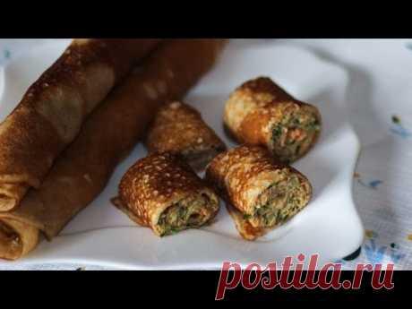 Блины из ржаной муки с рыбой | Rye flour pancakes stuffed with fish - YouTube