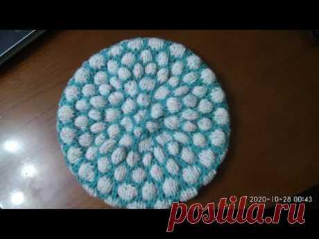 МК для начинающих по вязанию простой шапочки спицами по кругу. Вяжем круглое донышко шапочки.