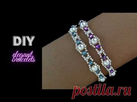 Making simple and elegant bracelets wit pearls and rondele beads. Beading Tutorial