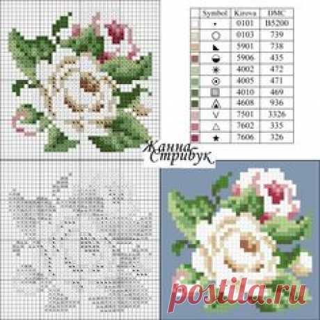 Схема для вышивки крестиком бисером роз