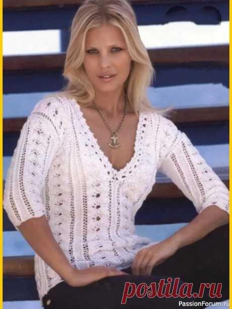 Белый ажурный пуловер из немецкого журнала Online | Женская одежда крючком. Схемы и описание