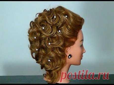 Вечерняя прическа на средние волосы. Hairstyle for medium long hair - Яндекс.Видео