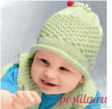 Вязаная шапочка для младенца | Вязание спицами для детей