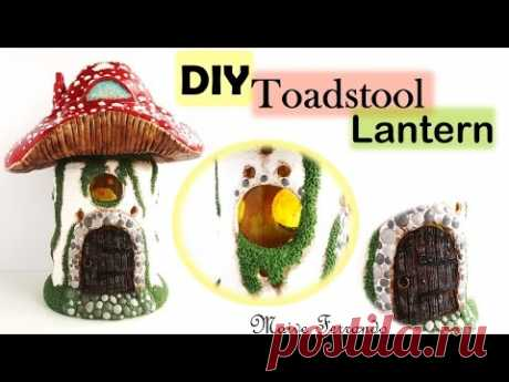 Toadstool/Mushroom Fairy House Lantern/Jar Polymer Clay Tutorial || Maive Ferrando