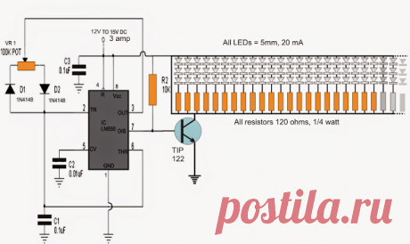 The post discusses a 555 based PWM circuit which can be implemented as a 150 nos or more LED light intensity controller circuit. The idea was requested by Mr. Anil The Circuit  Request I want to run 150LEDs of 5mm with help of IC555 on Pulse & continuous mode. I want use 12V/5A DC supply ... Read more150 LED PWM Controlled Tubelight Circuit