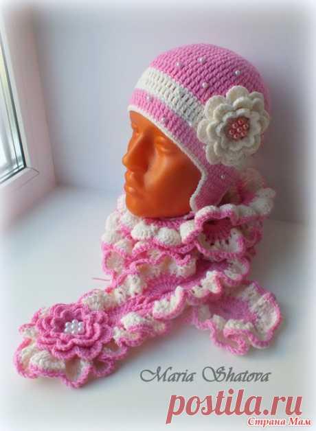 Комплект на осень (шапочка+шарф крючком)