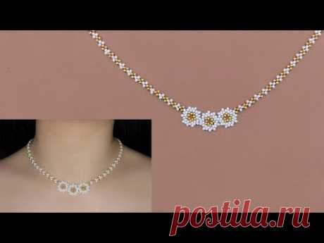 Beaded White Flower Pendant Necklace with Gold & White Seed Beads. How to Make Beaded Necklace花形串珠项链