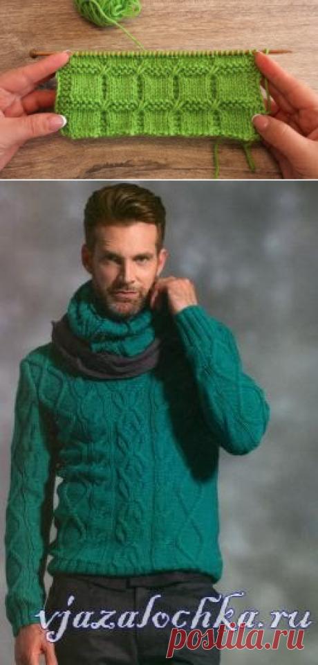 Зеленый свитер для мужчины спицами