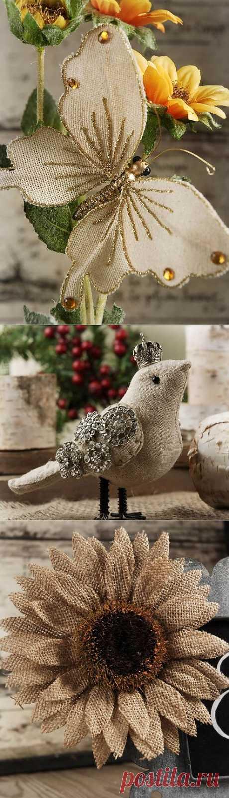 Любимая мешковина. ЦВЕТЫ и птички. Идеи для вдохновения.