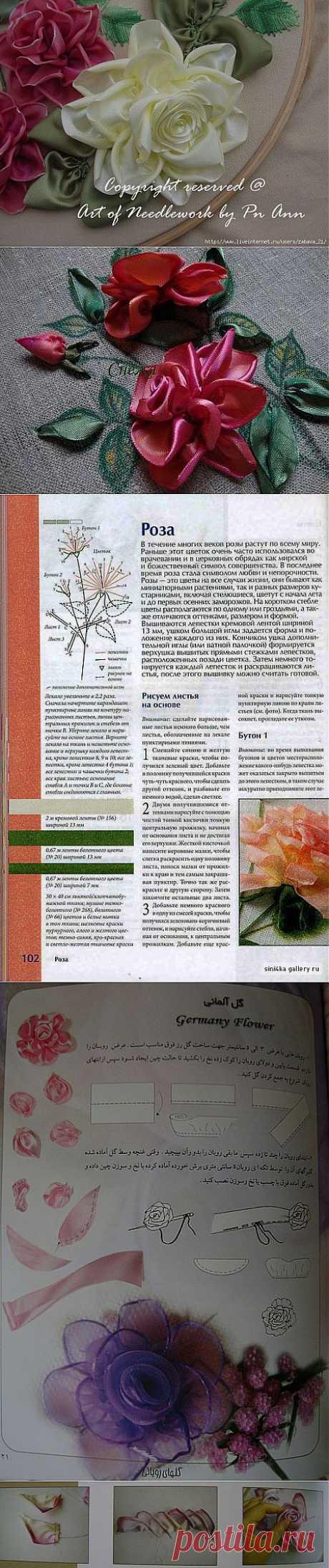 мастер-класс вышивки лентой(роза)ч.4.