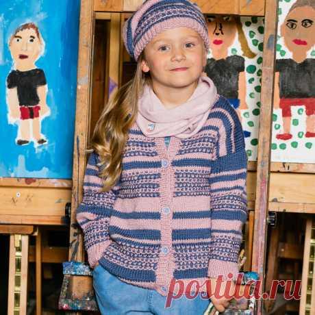 Детская кофта узором из снятых петель - схема вязания спицами с описанием на Verena.ru