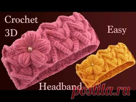 Diadema con flor a Crochet en Punto 3D con relieves tejido tallermanualperu