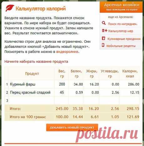 Корпоративный блог Овкусе.ру » 9. Калькулятор калорий